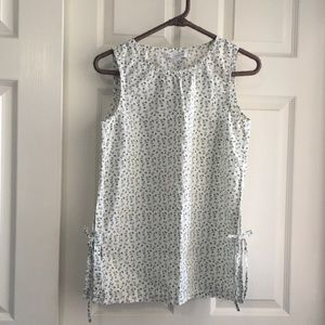 White and Green Floral Sleeveless Top